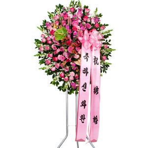 핑크장미 원형오브제 신화환1